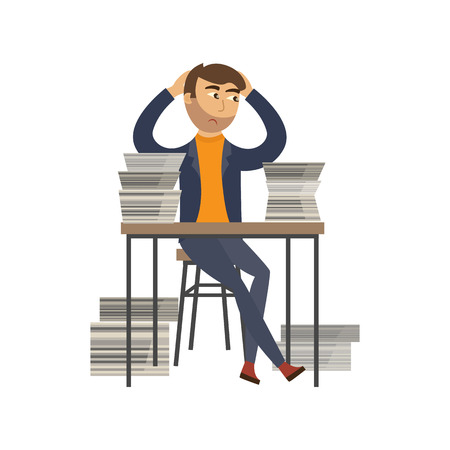 Exhausted businessman with sad emotion sitting at workplace desk with documents, paper piles, stack holding head. Overwork, stress and time management concept. Vector flat illustration