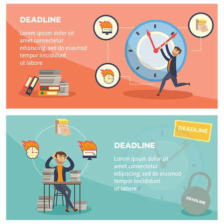 Deadline and time management banners set with overworked and littered with paper documents businessman trying to stop time - flat cartoon horizontal posters. Vector illustration. Standard-Bild - 103627058