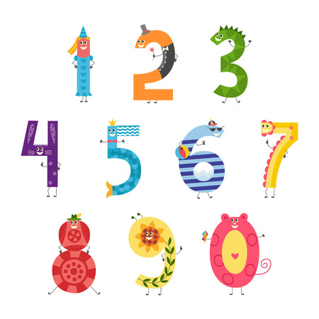Cute cartoon number set for teaching children or birthday invitation - funny characters isolated on white background. Collection of comic mathematics elements, vector illustration. Ilustrace