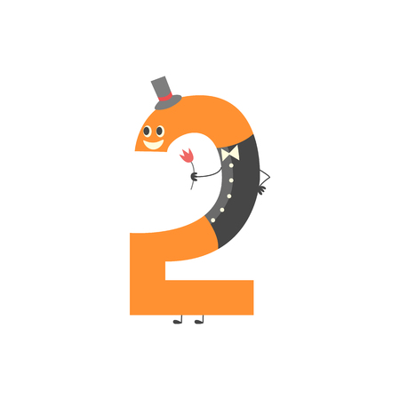 Number two cartoon character isolated on white background. Funny vector illustration of mathematics element for kids education or birthday invitation, comic number 2.