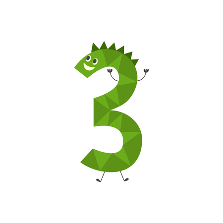 Number three funny cartoon character isolated on white background - cute vector illustration of mathematics element for teaching children or birthday invitation. Comic number 3.