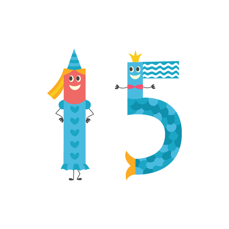 Number fifteen cartoon character for teaching children or birthday invitation - adorable number 15 isolated on white background. Funny flat vector illustration of arithmetic element. Stock Illustratie
