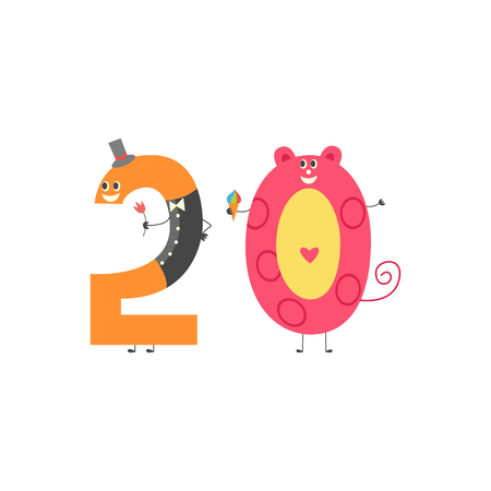 Number twenty cartoon character for teaching children or birthday invitation - cute number 20 isolated on white background. Funny flat vector illustration of mathematics element.