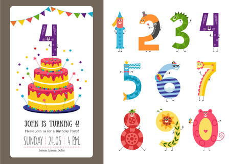 Birthday anniversary cartoon numbers and invitation card template set. Cute characters of numerals isolated on white background and b-day banner with cake, confetti and flags. Vector illustration. Illustration