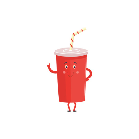 Cartoon character of plastic cup with sweet soda isolated on white background. Cute red container of fizzy drink with funny face and stripped straw standing and giving thumb up. Vector illustration.
