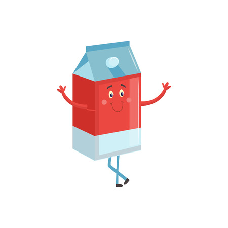 Cartoon character of carton box with milk or juice standing with stretching arms asking to come up hug isolated on white background. Cute paper container with funny face vector illustration.