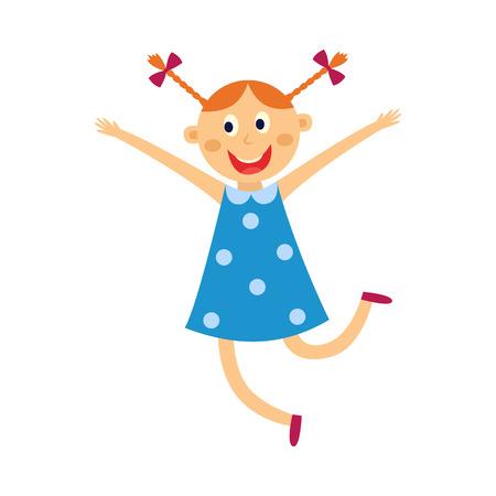 子供の女の子は白い背景に孤立した幸せな表情で踊り、ジャンプします。●青いドレスを着てキュートな陽気な女性の子ダンサーのフラット漫画ベクトルイラストが笑顔で楽しみます。 写真素材 - 103627098
