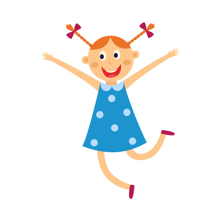 Jong geitjemeisje danst en springt met gelukkige uitdrukking die op witte achtergrond wordt geïsoleerd. Platte cartoon vectorillustratie van leuke vrolijke kind danseres in blauwe jurk glimlachen en plezier. Vector Illustratie