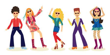 Persone che ballano discoteca insieme con uomini e donne in abiti di moda anni '70 isolati su priorità bassa bianca. Illustrazione vettoriale raccolta di night club o ballerini di partito in stile retrò. Vettoriali