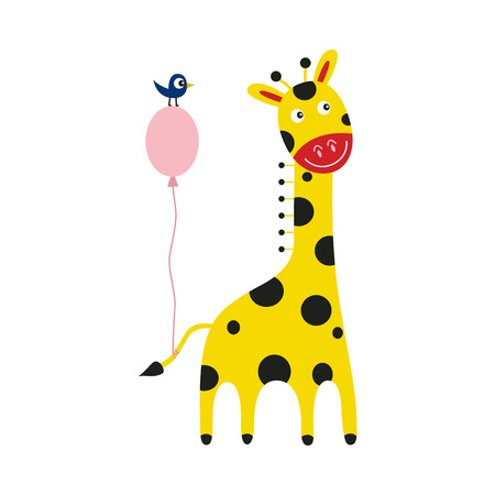 Giraffe cartoon character with pink balloon tied to tail and little bird isolated on white background - cute comic yellow african animal with spots stands smiling, vector illustration.