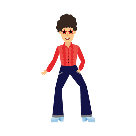 Retro disco male dancer with curly hair in 70s style with pants pincers and stars sunglasses isolated on white background. Funny flat cartoon man at party or night club, vector illustration.