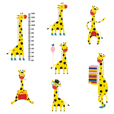 Giraffe cartoon character set isolated on white background. Collection of cute comic smiling yellow african animals with height meter, balloon, pile of books, eyeglasses. Vector illustration. Illustration