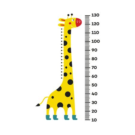 Giraffe stripfiguur met lange nek in laarzen staan naast schaal van 10 tot 130 centimeter geïsoleerd op een witte achtergrond. Wandhoogtemeter met schattig glimlachend Afrikaans dier. Vector illustratie