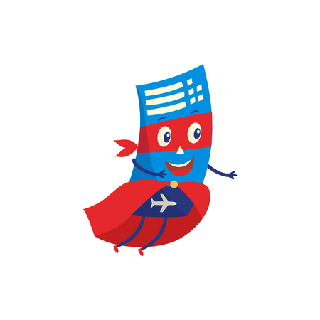 Air ticket cartoon character in mask and cloak of superhero flying to rescue people who want to relax isolated on white background. Vector illustration of airplane ticket for travel concept.