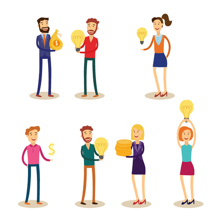 Financing new business ideas set with people holding light bulbs and bankers or financiers with money coins and bags. Isolated flat cartoon vector illustration of loan for project startup.