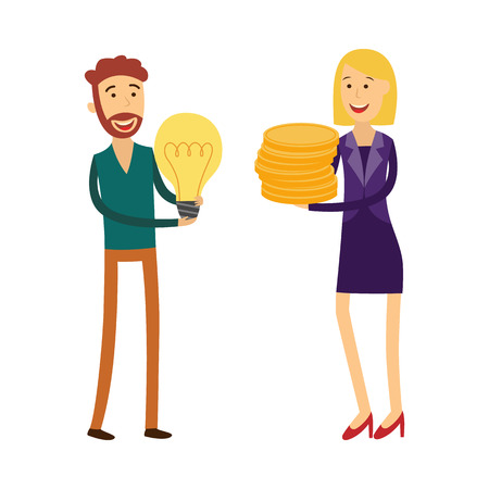 Financing new business idea concept with man holding light bulb and female banker or financier with money coins - isolated flat cartoon vector illustration of loan for project startup. Ilustração
