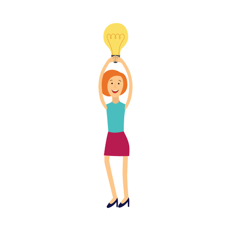 Young woman having idea illustration - smiling girl keeping above her head light bulb as symbol of great idea or solution of problem isolated on white background. Flat vector illustration.