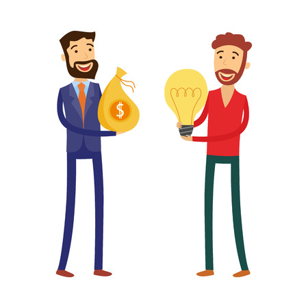 Financing new business idea concept with man holding light bulb and businessman with us dollars in bag - isolated flat cartoon vector illustration of loan for project startup.