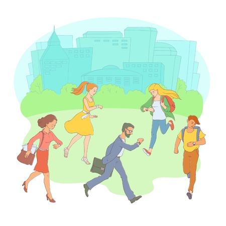 Late business people, students men, women hurrying up in circle looking at watches poster template, its time inscription. Adult worker going to meeting, work cityscape buildings background vector