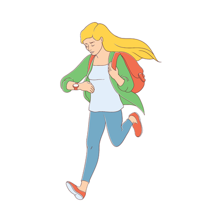 Late young pretty woman hurrying up looking at watches. Hand drawn beautiful girl in casual clothing jeans holding backpack running to meeting Female character flat style. Vector illustration isolated