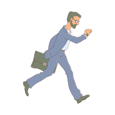 Late business man hurrying up looking at watches holding suitcase. Hand drawn adult man in glasses, suit going to meeting, work. Male office character in flat style. Vector illustration isolated