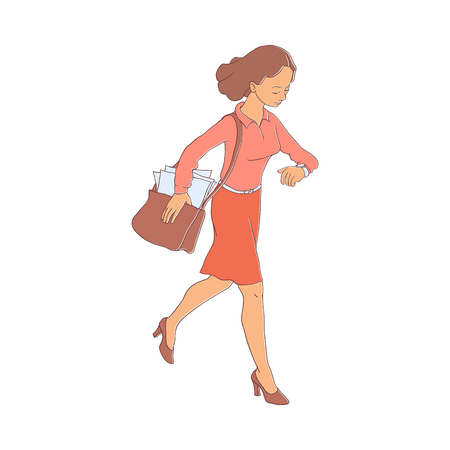 Late business woman hurrying up looking at watches holding bag. Hand drawn adult girl in red skirt blouse going to meeting, work. Female office character flat style. Vector illustration isolated Archivio Fotografico - 103628543