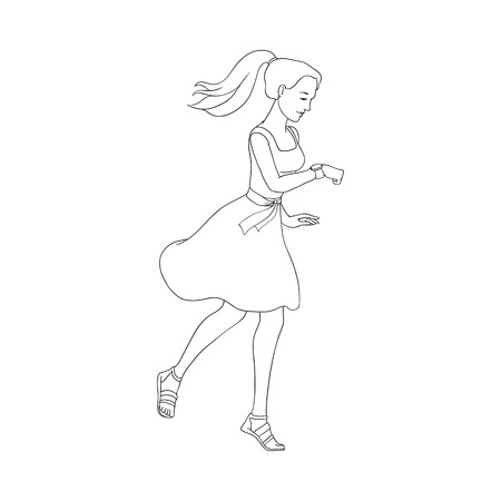 Late young pretty woman hurrying up looking at watches. Hand drawn beautiful girl in dress going to meeting. Female character in flat style. Vector monochrome illustration isolated Archivio Fotografico - 103628545