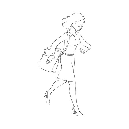 Late business woman hurrying up looking at watches holding bag. Hand drawn adult girl in skirt blouse going to meeting, work. Female office character flat style. Vector monochrome illustration