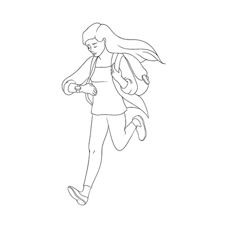 Late young pretty woman hurrying up looking at watches. Hand drawn beautiful girl in casual clothing jeans holding backpack running to meeting Female character flat. Vector monochrome illustration
