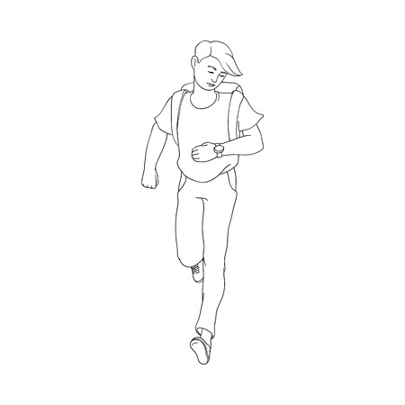 Late young man hurrying up looking at watches. Hand drawn character in casual summer clothing jeans holding backpack running to meeting. Male character in flat style. Vector illustration isolated