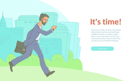 Late business man hurrying up looking at watches holding suitcase poster template, its time inscription. Adult man in glasses, suit going to meeting, work. Vector illustration isolated Illustration