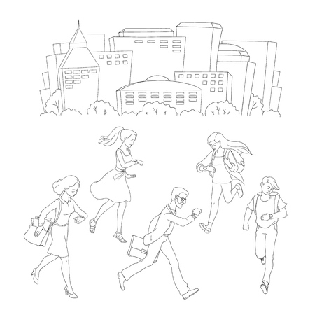 Late business people, students men, women hurrying up in circle looking at watches poster template, its time inscription. Adult worker going to meeting, work cityscape buildings monochrome vector Ilustração