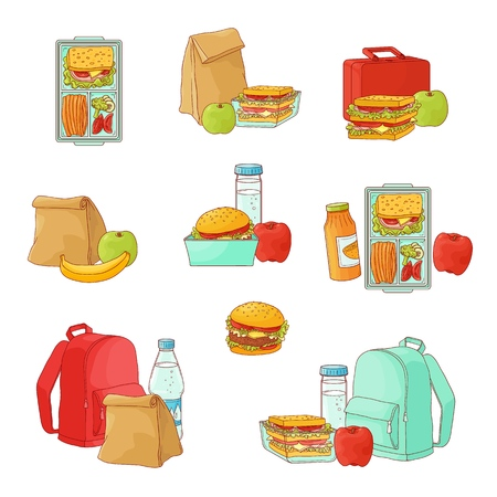 Lunchbox with cheese sandwich, tomato slices, potato chips, paper bag, schoolbag for school or work set. Dinner lunch container with snacks, meals homemade food. Vector isolated sketch illustration Illustration