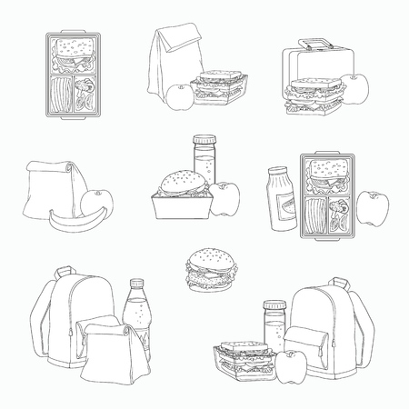 Lunchbox with cheese sandwich, tomato slices, potato chips, paper bag, schoolbag for school or work set. Dinner lunch container with snacks, meals homemade food. Vector monochrome sketch illustration