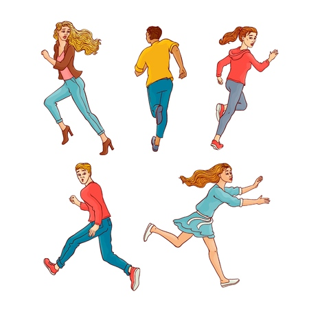 Young men, women running away set. Male, female characters running looking back with afraid frightened face. Isolated vector illustration in sketch style