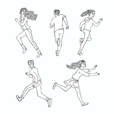 Hombres jóvenes, mujeres que huyen. Personajes masculinos y femeninos corriendo mirando hacia atrás con cara de miedo asustado. Ilustración de vector monocromo aislado en estilo boceto Ilustración de vector