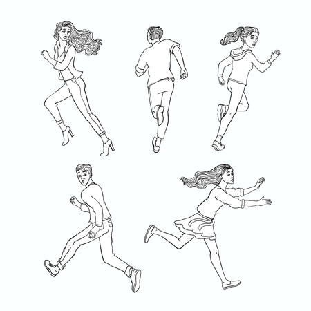 Young men, women running away set. Male, female characters running looking back with afraid frightened face. Isolated monochrome vector illustration in sketch style