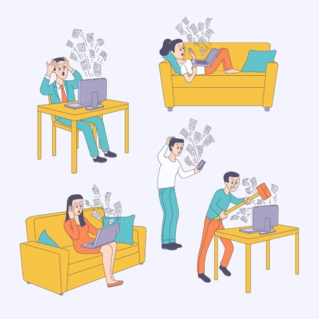 Information overload concept set. Angry man crushing monitor, male female characters feel puzzled, confused and irritated about lots of messages flying out of modern devices. Vector sketch