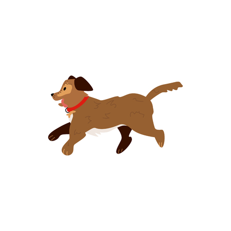 Flat style cute dog animal running, walking sticking out tongue side view icon. Funny hand drawn puppy pet. Domestic adorable brown character, design element. Vector illustration isolated.
