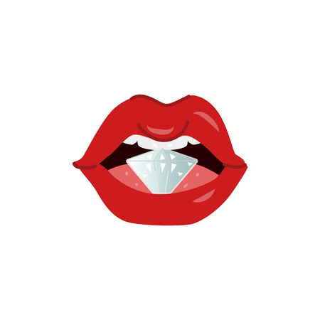 Woman mouth open with sexy lips, white teeth holding diamond. Red lipstick makeup glamour fashion style glossy sensual kiss symbol. Isolated vector illustration on a white background. Standard-Bild - 103628691