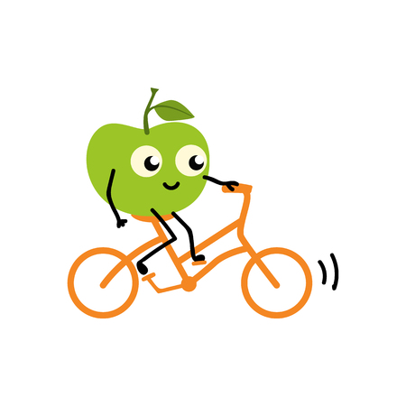 Doing sport fruit - green fresh ripe apple riding bike isolated on white background. Cute cartoon smiling character doing exercises for healthy and active lifestyle concept. Vector illustration. Ilustracja