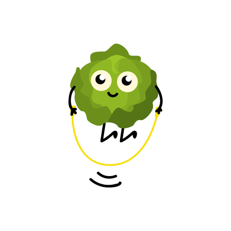 Brussels sprouts jumping rope with pleasure and fun isolated on white background. Cartoon sport vegetable character doing exercises for healthy lifestyle concept design. Vector illustration.