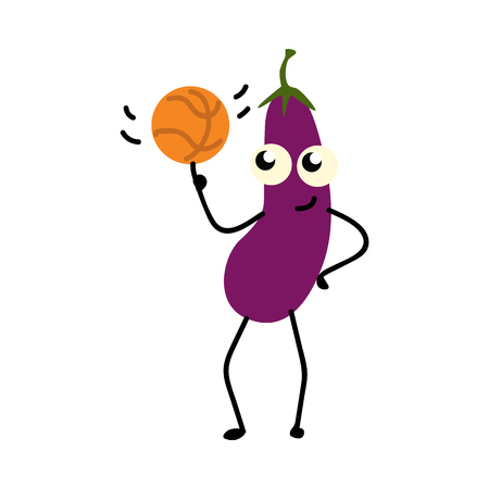 Eggplant twisting basketball on finger isolated on white background. Cute smiling happy character of sport vegetable doing exercises for active healthy lifestyle, vector illustration.
