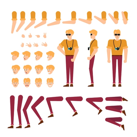 Young man creation kit - guy in t-shirt and jeans with sunglasses and camera. Isolated set of various body parts, face emotions, hand gestures of male cartoon character, flat vector illustration.