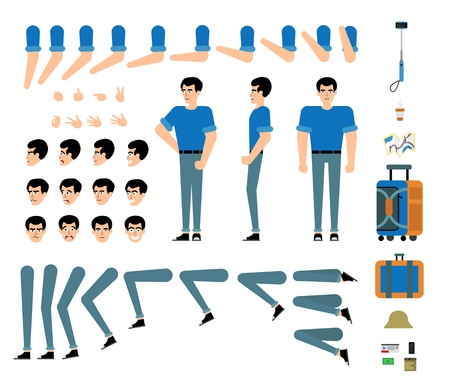 Vacation traveller male character creation set - isolated kit of various body parts, hair colors, hand gestures, face emotions and travel accessories, flat cartoon tourist . Vector illustration.