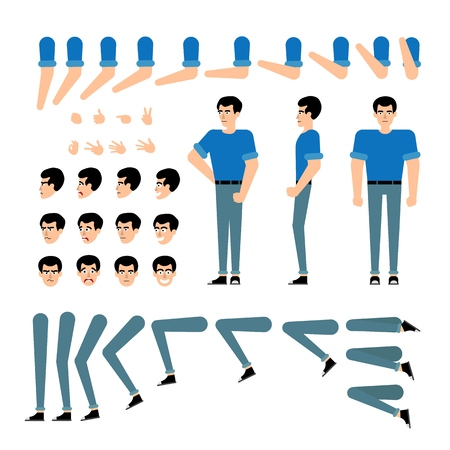 Young man creation kit - guy in t-shirt and jeans set of various body parts, face emotions, hand gestures of male cartoon character. Isolated flat vector illustration.