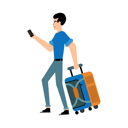 Tourist male character with suitcase and mobile phone walking forward isolated on white background. Side view of flat cartoon traveler in casual clothes carrying bag, vector illustration.