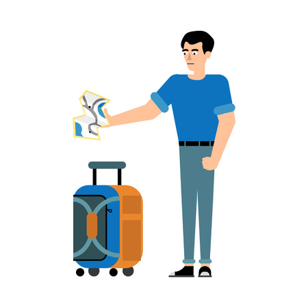 Traveler male character with suitcase stands and looks at map in his outstretched hand isolated on white background. Flat cartoon vector illustration of tourist with carry-on luggage.