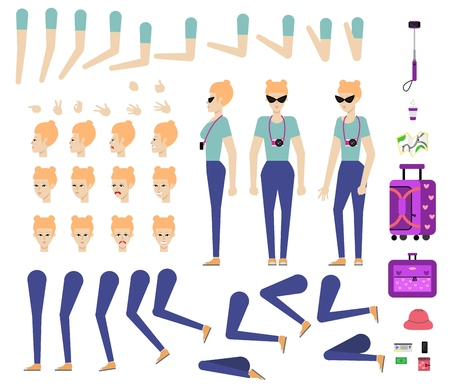 Travelling girl creation kit - set of different body parts, poses, face emotions, gestures and travel accessories. Cartoon character of young female tourist. Flat vector illustration.
