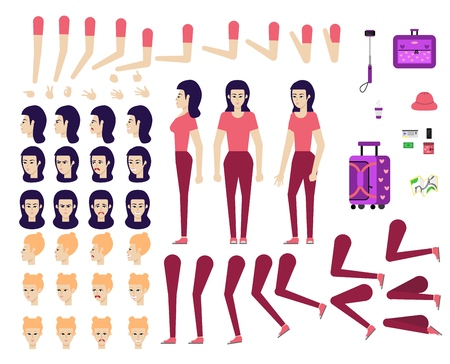 Cartoon female tourist creation kit - set of different body parts, poses, face emotions, gestures and travel accessories. Flat character of young travelling girl, vector illustration.